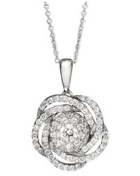Wrapped in Love | Metallic Tm Diamond Knot Pendant Necklace In 14k White Gold (1 Ct. T.w.) | Lyst