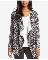 Karen Kane - Multicolor Leopard-print Fleece Open Cardigan - Lyst