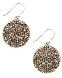 Lucky Brand - Metallic Earrings, Gold-tone Pave Disk Earrings - Lyst