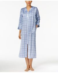 Miss Elaine | Blue Brushed-back Satin Zip-front Long Robe | Lyst