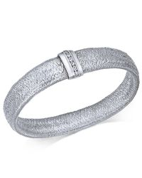 Macy's - Metallic Diamond Woven Mesh Bracelet (1/8 Ct. T.w.) In Sterling Silver - Lyst
