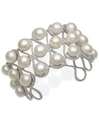 Macy's - Metallic Cultured Freshwater Button Pearl Cuff Bracelet In Sterling Silver - Lyst