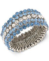 Carolee - Silver-tone Blue & Clear Crystal Stretch Bracelet - Lyst