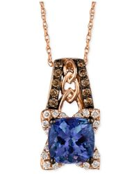 Le Vian - Blue Tanzanite (1-3/8 Ct. T.w.) And Diamond (1/3 Ct. T.w.) Pendant Necklace In 14k Rose Gold - Lyst