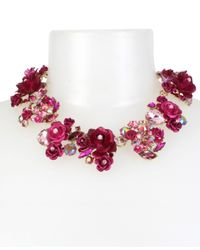 Betsey Johnson - Gold-tone Multi-stone Pink Flower Statement Necklace - Lyst
