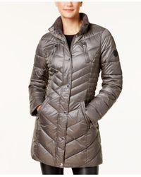 Laundry by Shelli Segal - Gray Faux-fur-trim Fleece-lined Puffer Coat - Lyst
