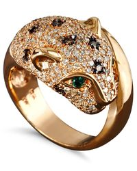 Effy Collection | Metallic White And Champagne Diamond (1-1/3 Ct. T.w.) And Emerald Accent Panther Ring In 14k Rose Gold | Lyst