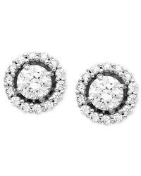 Arabella | 14k White Gold Earrings, Swarovski Zirconia Round Pave Stud Earrings (2-7/8 Ct. T.w.) | Lyst
