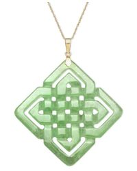 Macy's | Green 14k Gold Necklace, Jade Large Cutout Weave Pendant | Lyst