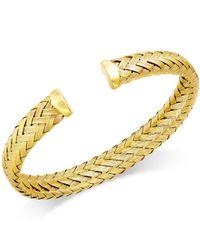 Macy's - Metallic Woven Cuff Bracelet In 14k Gold Over Sterling Silver - Lyst