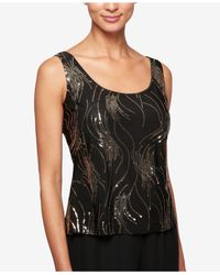 Alex Evenings - Black Petite Sequined Jacket & Shell - Lyst