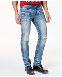 True Religion - Blue Men's Rocco Ripped Faded Jeans for Men - Lyst