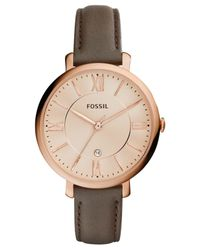 Fossil - Pink Women's Jacqueline Gray Leather Strap Watch 36mm Es3707 - Lyst