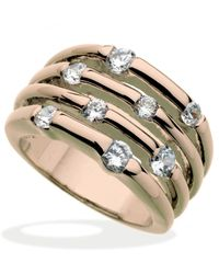 Guess - Metallic Rose Gold-tone Multirow Crystal Stone Ring - Lyst