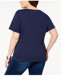 Karen Scott Blue Plus Size Cotton Henley T-shirt, Created For Macy's