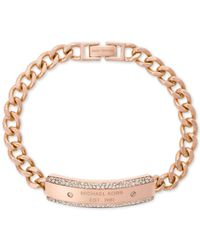 Michael Kors - Metallic Chain Logo-plate Bracelet - Lyst