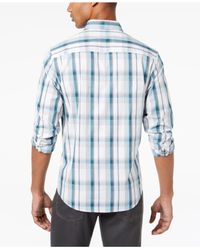 Alfani - Blue Men's Plaid Shirt for Men - Lyst