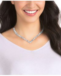 Swarovski - Blue Silver-tone Halo Crystal V Collar Necklace - Lyst