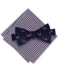 Tommy Hilfiger | Blue Men's Fox To-tie Bow Tie & Gingham Pocket Square Set for Men | Lyst