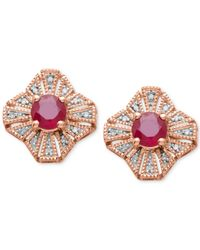 Macy's - Pink Ruby (1-1/5 Ct. T.w.) And Diamond Accent Button Earrings In 14k Rose Gold - Lyst