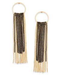 INC International Concepts - Metallic Two-tone Hoop & Chain Fringe Linear Drop Earrings - Lyst