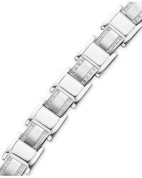 Macy's - Multicolor Men's Stainless Steel Bracelet, Diamond Square Link (3/4 Ct. T.w.) for Men - Lyst