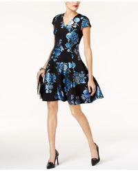 Alfani | Blue Printed Fit & Flare Dress | Lyst