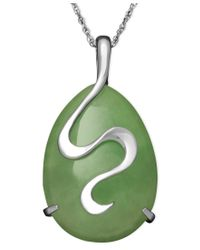 Macy's - Green Sterling Silver Necklace, Jade Oval Snake Pendant - Lyst