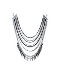 ABS By Allen Schwartz - Metallic Two-tone Multi-bead Multi-row Necklace - Lyst