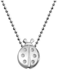 Alex Woo - Metallic Little Faith Ladybug Pendant Necklace In Sterling Silver - Lyst