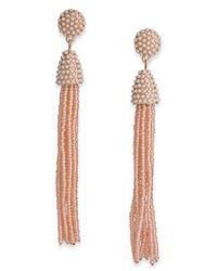 INC International Concepts - Pink Gold-tone Long Beaded Tassel Drop Earrings - Lyst