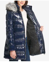 DKNY - Blue Faux-fur-trim Puffer Coat - Lyst