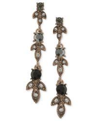 Marchesa - Metallic Gold-tone Clear & Jet Crystal Linear Drop Earrings - Lyst