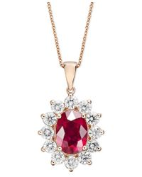 Effy Collection - Multicolor Royalty Inspired By Effy Ruby (3-3/4 Ct. T.w.) And Diamond (1-3/4 Ct. T.w.) Oval Pendant In 14k Rose Gold - Lyst