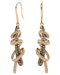 Le Vian   Metallic White And Chocolate Diamond Swirl Earrings (1-1/6 Ct. T.w.) In 14k Rose Gold   Lyst