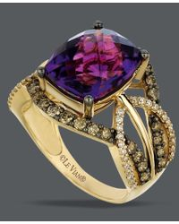 Le Vian - Multicolor Amethyst (4-5/8 Ct. T.w.) And White And Chocolate Diamond (9/10 Ct. T.w.) Ring In 14k Gold - Lyst