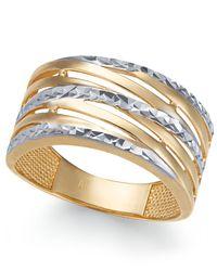 Macy's - Metallic Textured Statement Ring In 14k Gold & White Gold - Lyst