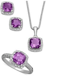 Macy's | Purple Sterling Silver Jewelry Set, Cushion Cut Amethyst Pendant, Earrings And Ring Set (4-1/3 Ct. T.w.) | Lyst