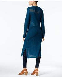 Style & Co. - Blue Petite Open-front Pointelle Duster Cardigan - Lyst