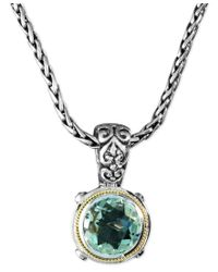 Effy Collection - Metallic Balissima By Effy Green Quartz Round Pendant (5 Ct. T.w.) In Sterling Silver And 18k Gold - Lyst