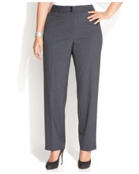 Calvin Klein | Gray Plus Size Wide-leg Dress Pants | Lyst