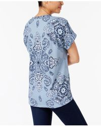 Style & Co. - Blue Printed Cuffed-sleeve Top - Lyst