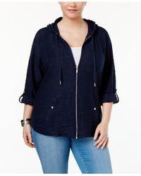 Style & Co. - Blue Plus Size Zip Hooded Jacket - Lyst