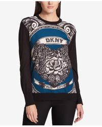 DKNY - Black Printed Sweater, Created For Macy's - Lyst