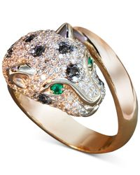 Effy Collection | Metallic Black And White Diamond (1-1/3 Ct. T.w.) And Emerald Accent Panther Ring In 14k Rose Gold | Lyst