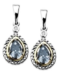 Macy's - Blue 14k Gold And Sterling Silver Earrings, Aquamarine (3/4 Ct. T.w.) And Diamond Accent Teardrop Earrings - Lyst