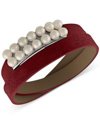 Majorica - Red New Isla 6mm White Pearl & Leather Bracelet - Lyst