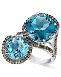 Le Vian   Blue Topaz (8-3/8 Ct. T.w.) And Chocolate Diamond (5/8 Ct. T.w.) 2 Stone Ring In 14k White Gold   Lyst
