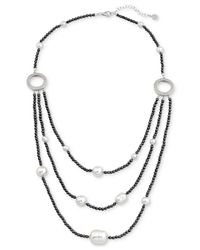 Majorica - Metallic Two-tone Sterling Silver Imitation Pearl Multi-row Necklace - Lyst