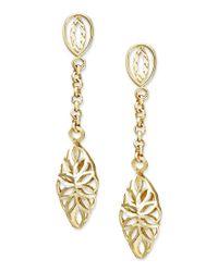 Macy's | Metallic 14k Gold Earrings, Diamond Cut Marquise Filigree Drop Earrings | Lyst